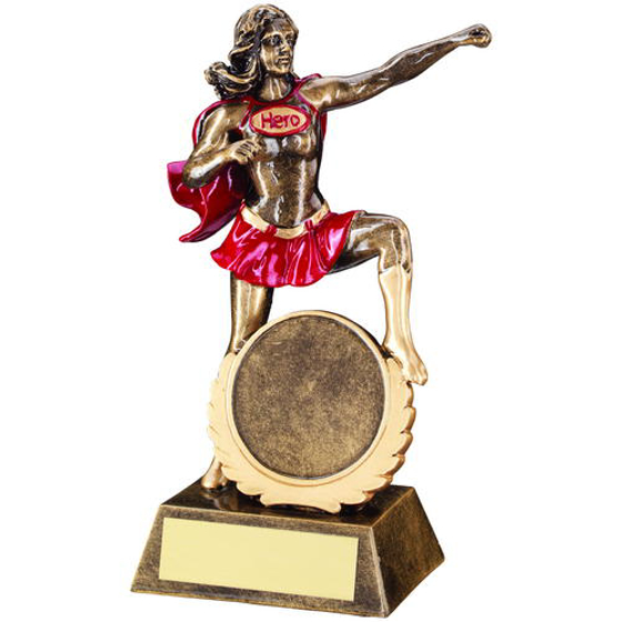 Picture of Brz/gold/red Generic Female 'hero' Trophy -     (2in Centre) 7.5in (191mm)