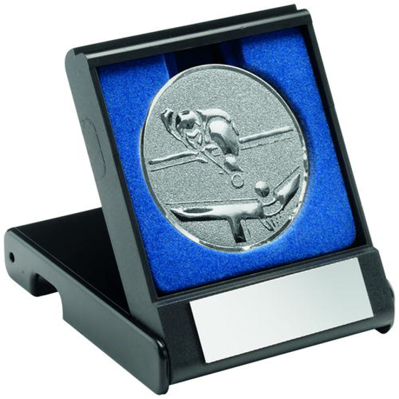 Picture of Black Plastic Box With Pool/snooker Insert Trophy - Silver 3.5in (89mm)