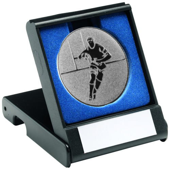 Picture of Black Plastic Box With Rugby Insert Trophy - Silver 3.5in (89mm)