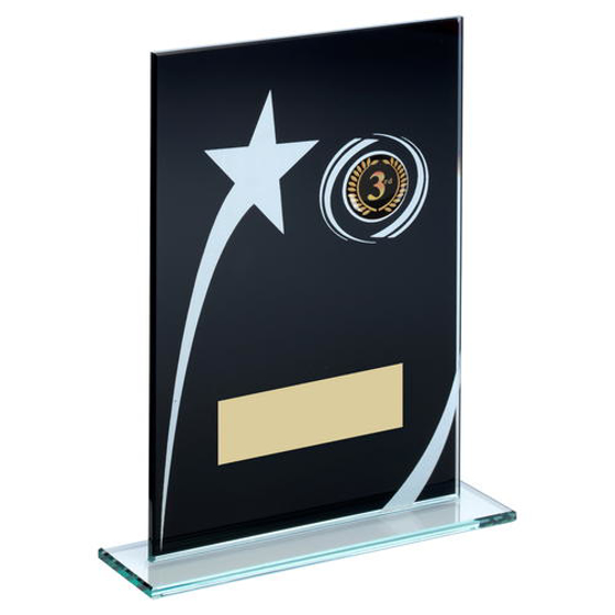 Picture of Blk/white Printed Glass Plaque With Shooting Star Trophy (1in Centre) - 6.5in (165mm)