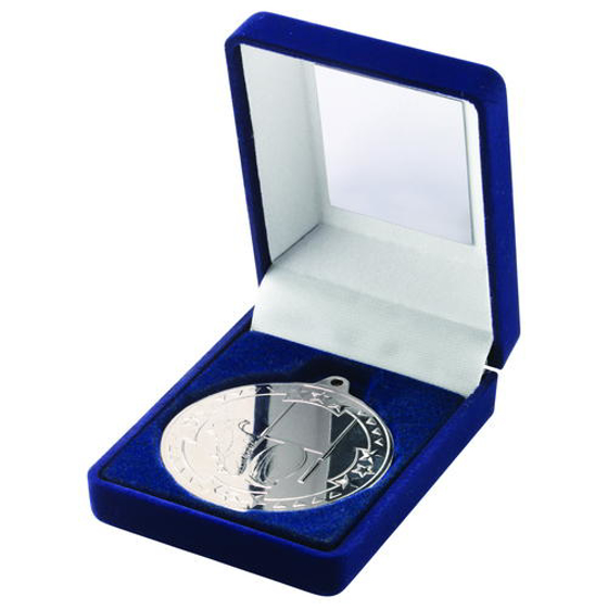 Picture of Blue Velvet Box And 50mm Medal Rugby Trophy - Silver 3.5in (89mm)