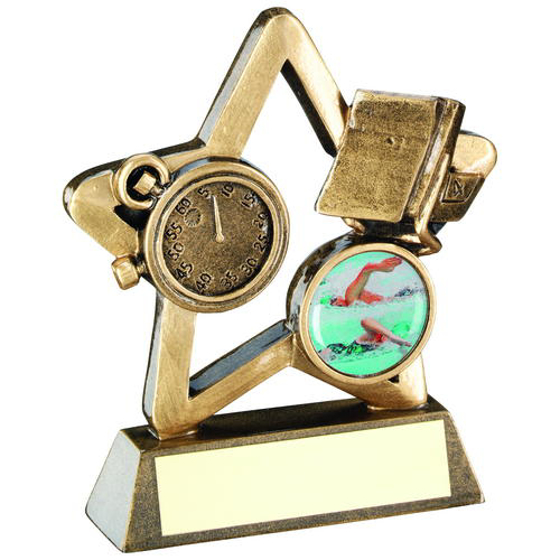 Picture of Brz/gold Swimming Mini Star Trophy - (1in Centre) 4.25in (108mm)