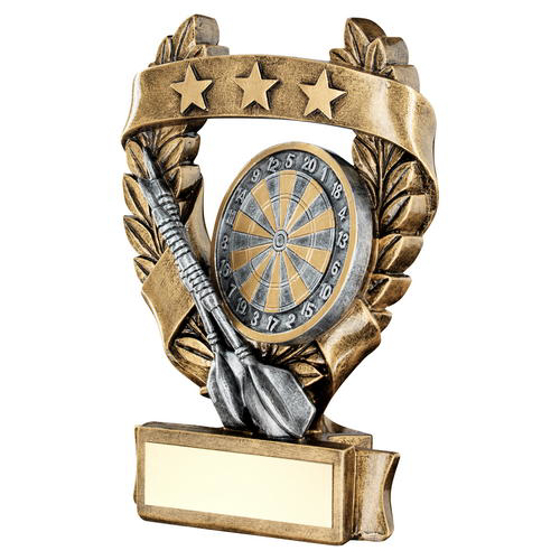 Picture of Brz/pew/gold Darts 3 Star Wreath Award Trophy - 7.5in (191mm)