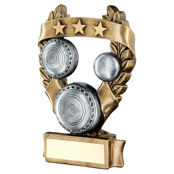 Picture of Brz/pew/gold Lawn Bowls 3 Star Wreath Award Trophy - 7.5in (191mm)