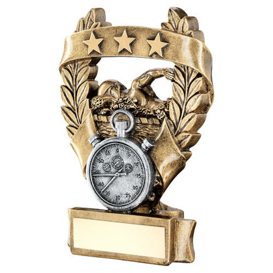 Picture of Brz/pew/gold Swimming 3 Star Wreath Award Trophy - 7.5in (191mm)
