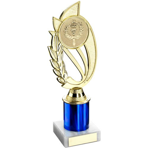 Picture of Gold/blue Plastic Holder On Marble Trophy -    (2in Centre) 7in (178mm)