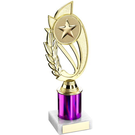 Picture of Gold/purple Plastic Holder On Marble Trophy - (2in Centre) 7in (178mm)