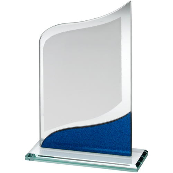Picture of Jade Glass Pointed Plaque With Blue/silver Detail - 8in (203mm)