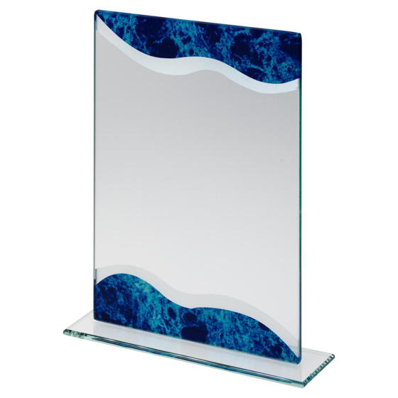 Picture of Jade Glass Rectangle Plaque With Silver/blue Marble Detail (5mm Thick) - 8in (203mm)