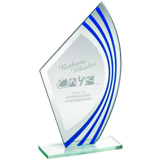 Picture of Jade Glass Sail Plaque With Blue/silv Highlights - (5mm Thick) 8.75in (222mm)