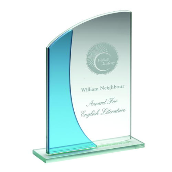 Picture of Jade/blue Glass Rectangle Plaque With Curved Top - (5mm Thick) 5.25in (133mm)