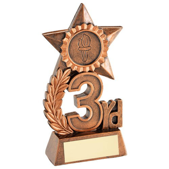 Picture of Leaf And Star Award Trophy (1in Centre) - Bronze 3rd - 4.75in (121mm)