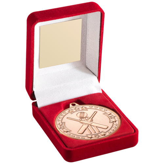 Picture of Red Velvet Box And 50mm Medal Cricket Trophy - Gold 3.5in (89mm)