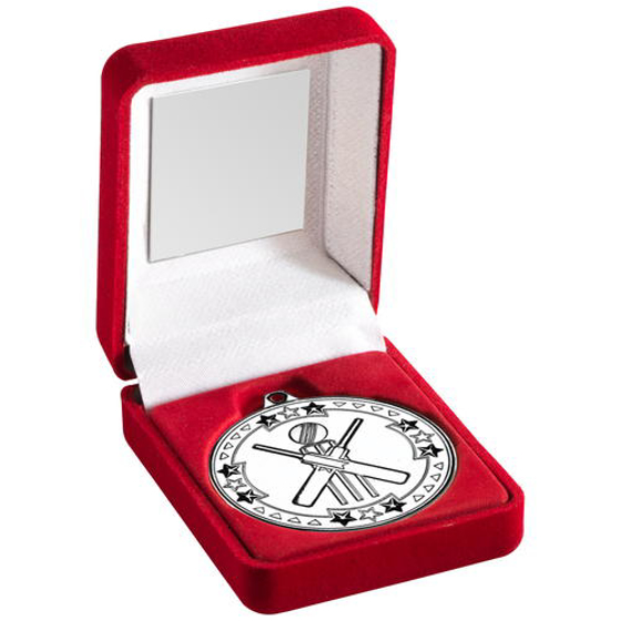 Picture of Red Velvet Box And 50mm Medal Cricket Trophy - Silver 3.5in (89mm)