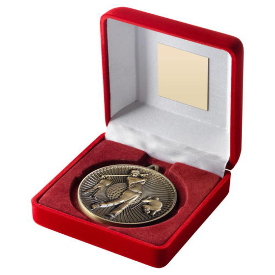Picture of Red Velvet Box And 60mm Medal Golf Trophy - Bronze - 4in (102mm)