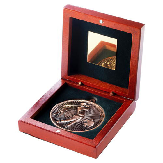 Picture of Rosewood Box And 60mm Medal Golf Trophy - Antique Gold - 4.25in (108mm)