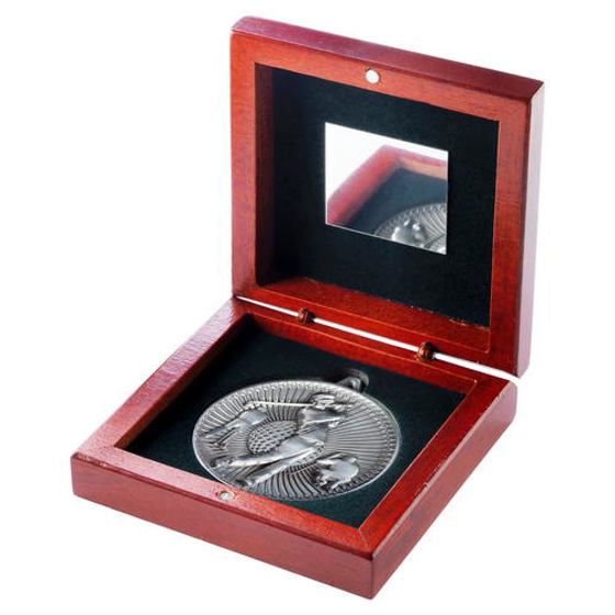 Picture of Rosewood Box And 60mm Medal Golf Trophy - Antique Silver - 4.25in (108mm)