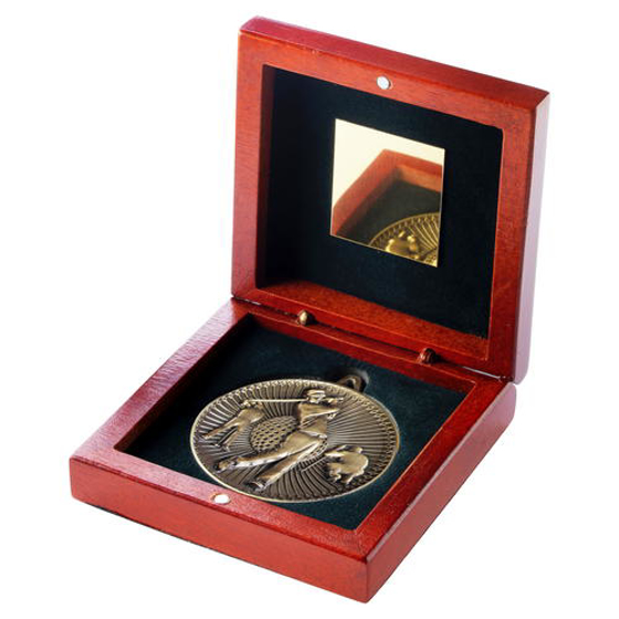 Picture of Rosewood Box And 60mm Medal Golf Trophy - Bronze - 4.25in (108mm)