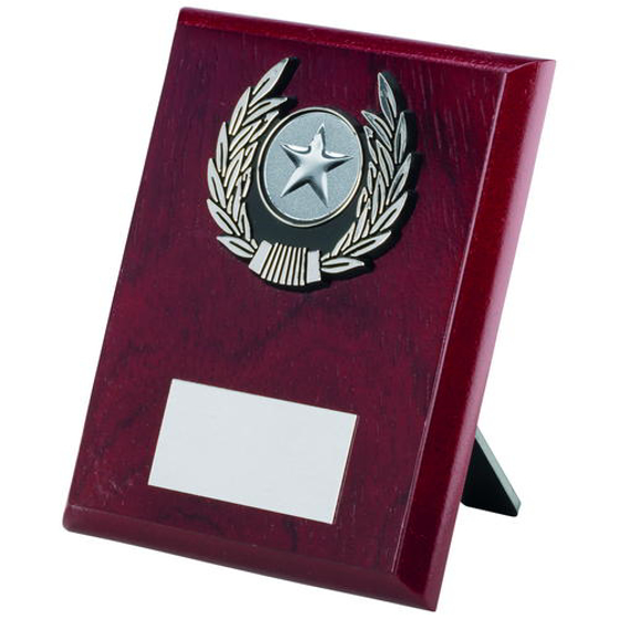 Picture of Rosewood Plaque And Silver Trim Trophy - (1in Centre) 5in (127mm)