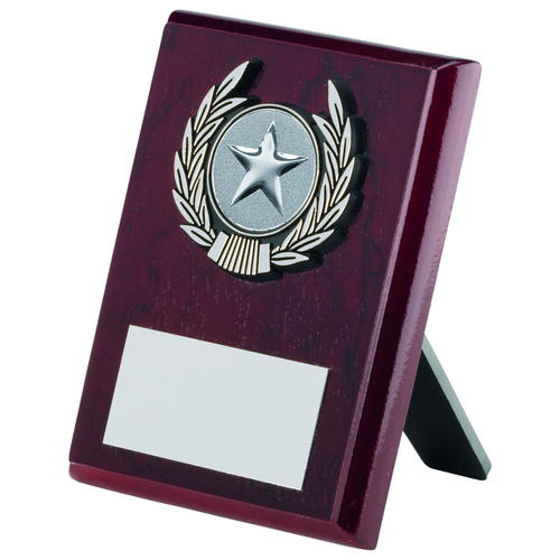 Picture of Rosewood Plaque And Silver Trim Trophy - (1in Centre) 6in (152mm)