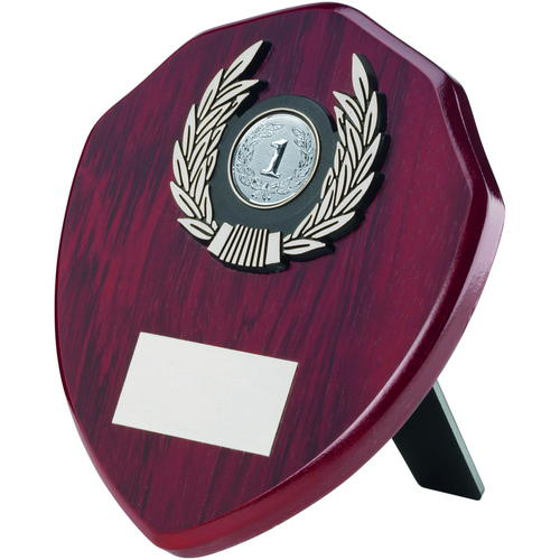 Picture of Rosewood Shield And Silver Trim Trophy - (1in Centre) 4in (102mm)