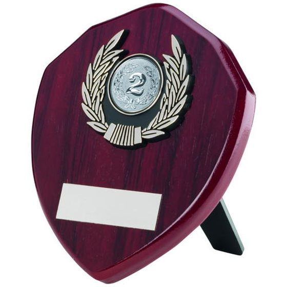 Picture of Rosewood Shield And Silver Trim Trophy - (1in Centre) 5in (127mm)
