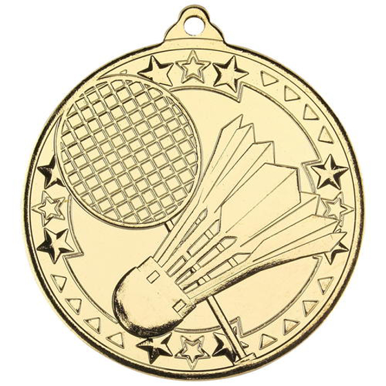 Picture of Badminton 'tri Star' Medal - Gold 2in (50mm)