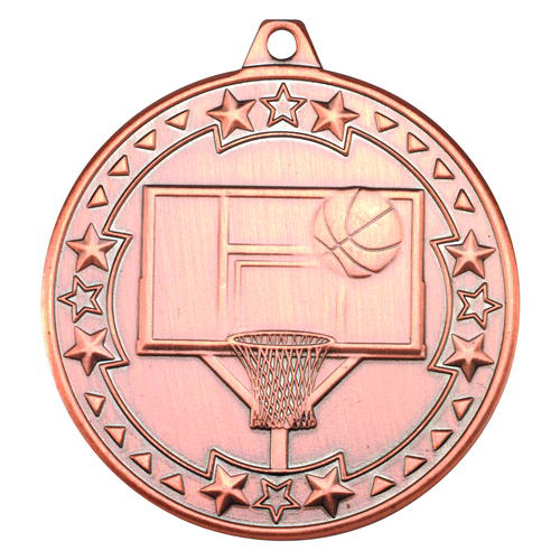 Picture of Basketball 'tri Star' Medal - Bronze 2in (50mm)