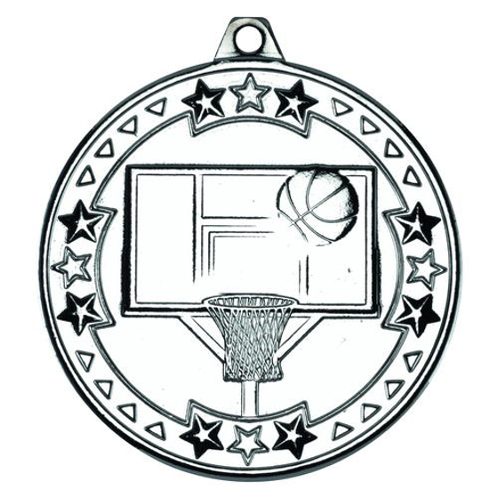 Picture of Basketball 'tri Star' Medal - Silver 2in (50mm)