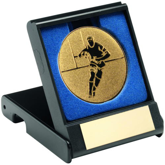 Picture of Black Plastic Box With Rugby Insert Trophy - Gold 3.5in (89mm)