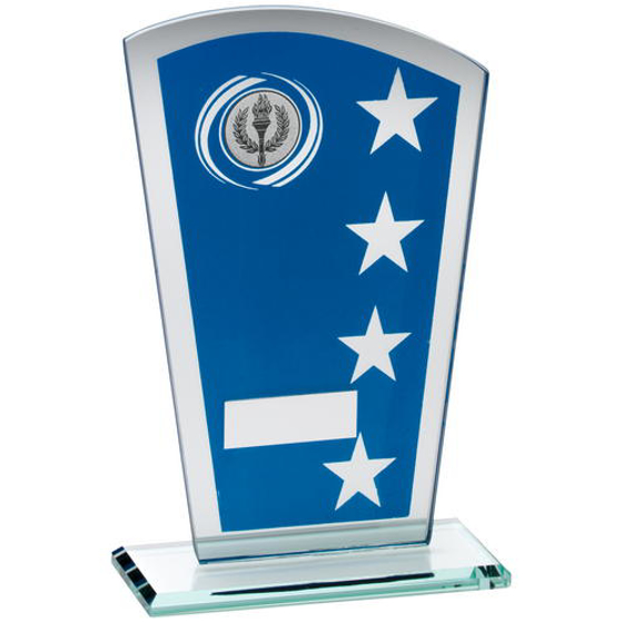 Picture of Blue/silv Printed Glass Shield With Wreath/star Design Trophy - (1in Cen) 8in (203mm)