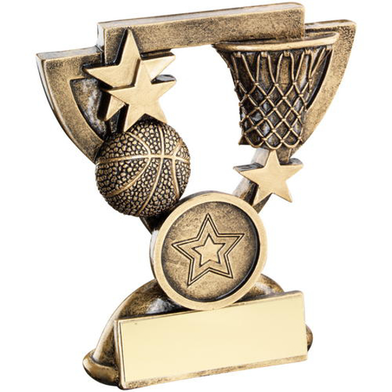 Picture of Brz/gold Basketball Mini Cup Trophy - (1in Centre) 3.75in (95mm)