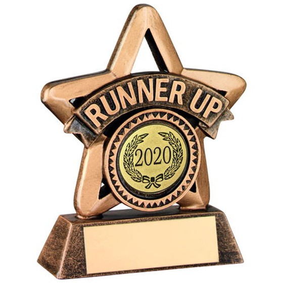 Picture of Brz/gold Resin Mini Star Trophy - (r Up & 1in Centre) 3.75in (95mm)