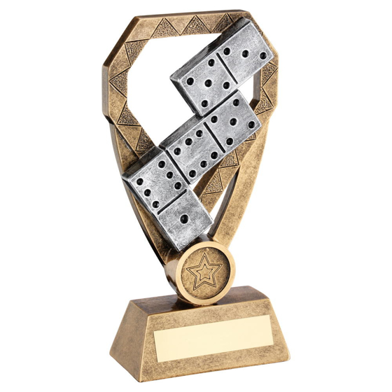Picture of Brz/pew/gold Dominoes On Diamond Trophy (1in Centre) - 6in (152mm)
