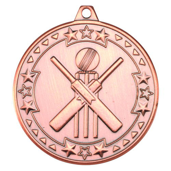 Picture of Cricket 'tri Star' Medal - Bronze 2in (50mm)