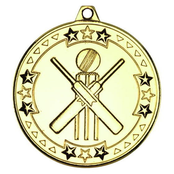 Picture of Cricket 'tri Star' Medal - Gold 2in (50mm)