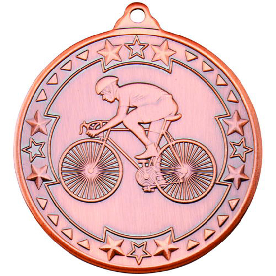 Picture of Cycling 'tri Star' Medal - Bronze 2in (50mm)