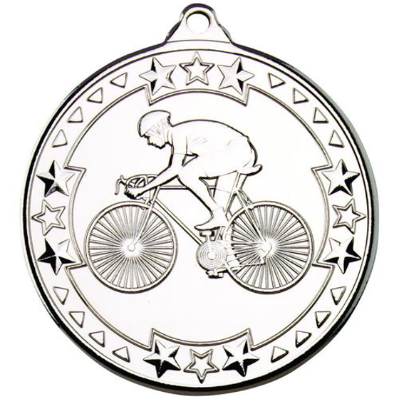 Picture of Cycling 'tri Star' Medal - Silver 2in (50mm)