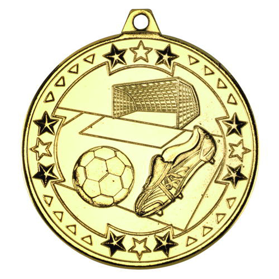 Picture of Football 'tri Star' Medal - Gold 2in (50mm)