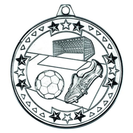 Picture of Football 'tri Star' Medal - Silver 2in (50mm)