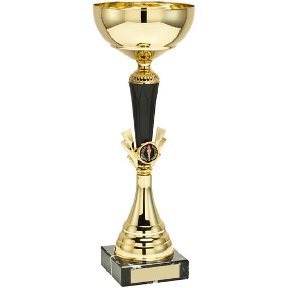 Picture of Gold/black Tall Trophy - (1in Centre) 14.25in (362mm)