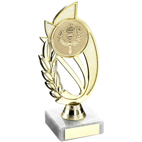 Picture of Gold/blue Plastic Holder On Marble Trophy -    (2in Centre) 10in (254mm)