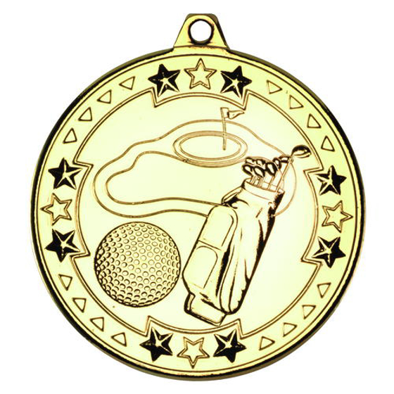 Picture of Golf 'tri Star' Medal - Gold 2in (50mm)