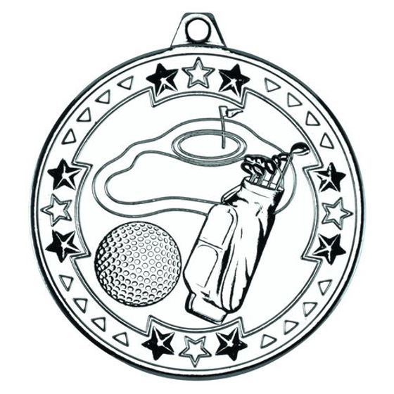 Picture of Golf 'tri Star' Medal - Silver 2in (50mm)