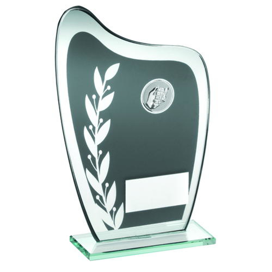 Picture of Grey/silver Glass Plaque With Dominoes Insert Trophy - 8in (203mm)
