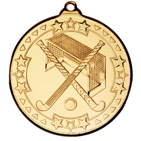 Picture of Hockey 'tri Star' Medal - Gold 2in (50mm)
