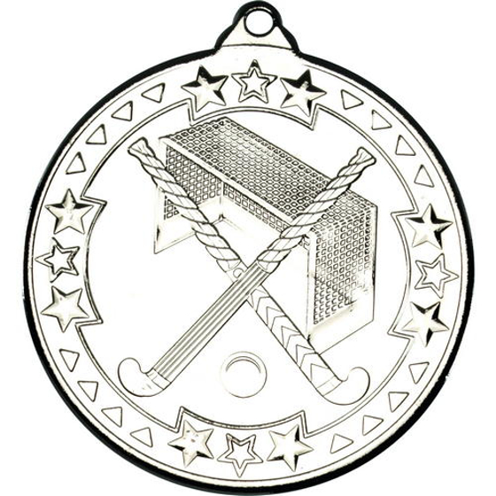 Picture of Hockey 'tri Star' Medal - Silver 2in (50mm)