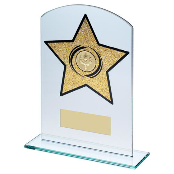 Picture of Jade Glass Arched Rectangle With Gold Glitter Star Trophy (1in Centre) - 6.5in (165mm)