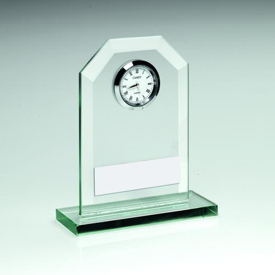 Picture of Jade Glass Clock Trophy - 4.25in (108mm)
