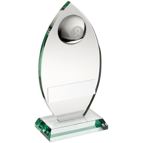 Picture of Jade Glass Plaque With Half Pool Ball Trophy - 5.75in (146mm)